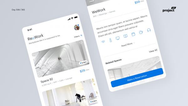 Day 308 – WorkSpace Finder App Concept