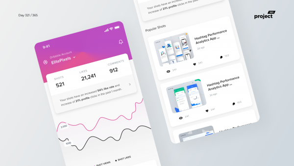 Day 321 – Dribbble Analytics App Concept