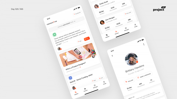 Day 329 – Startup Mentors/Founders Social App Concept
