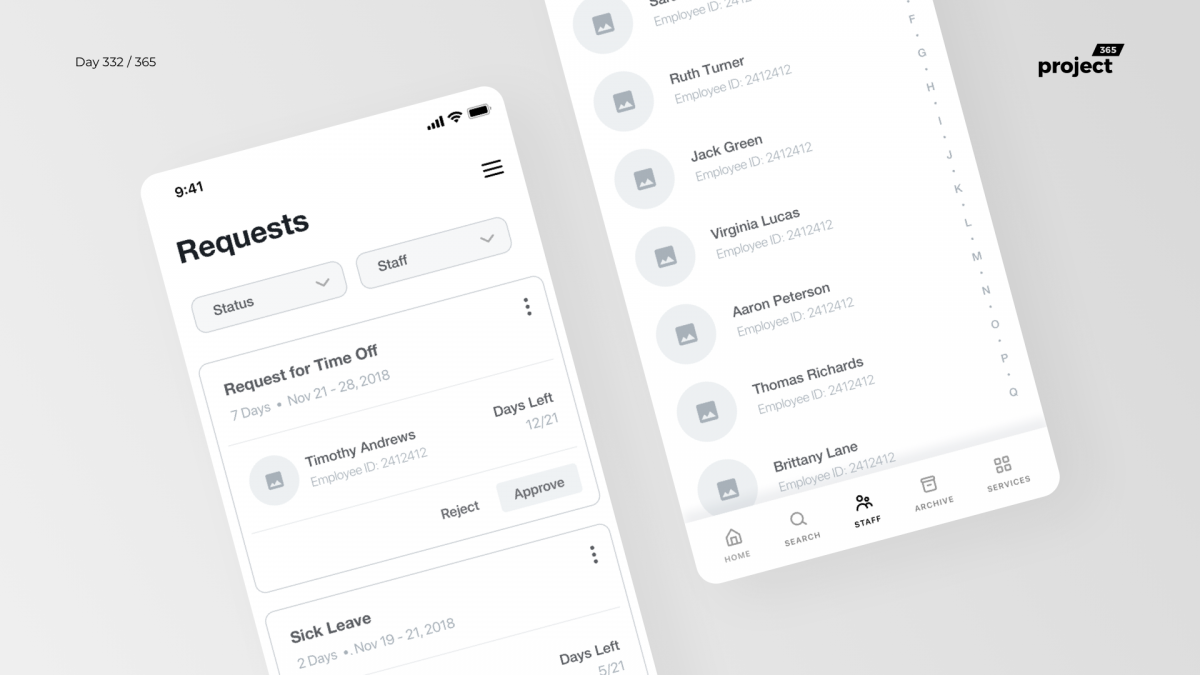 Day 332 – Staff Management App Wireframe
