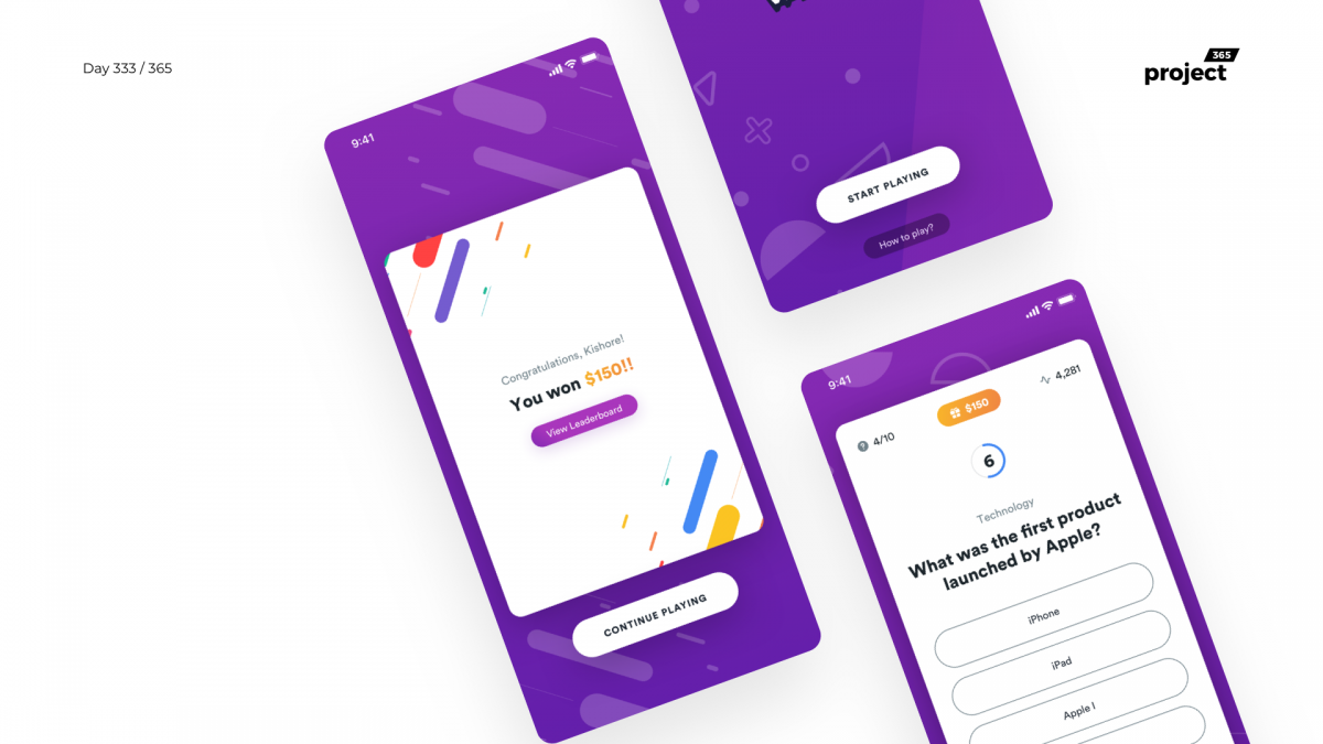 Day 333 – Live Trivia Game App Concept