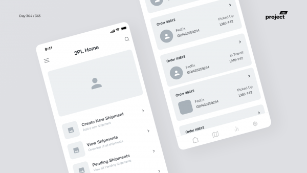 Day 304 – 3PL Shipping App Wireframe