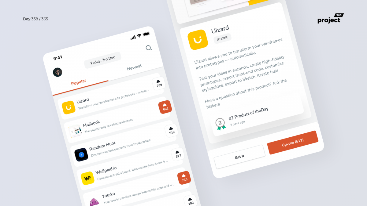 Day 338 – ProductHunt Mobile App Redesign Concept