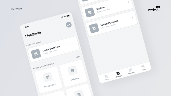 Day 339 – Live Events Feedback – App Wireframe