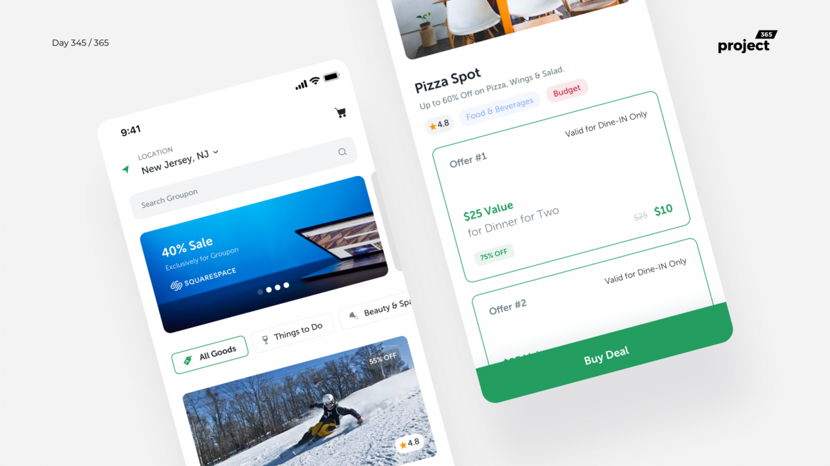 Day 345 – Groupon Mobile App Redesign